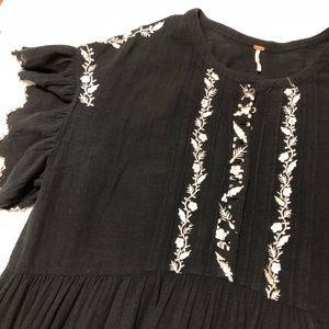 Free People Dresses - Free People Santiago Embroidered Dress Black Sz L